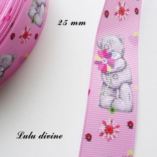 Ruban gros grain rose Ourson// Teddy à la vertical Fleurs de 25 mm vendu au mètre