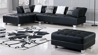 Astonishing 3 Pc Modern Black Leather Sofa Chaise Ottoman Living Room Sectional Set Ebay Spiritservingveterans Wood Chair Design Ideas Spiritservingveteransorg