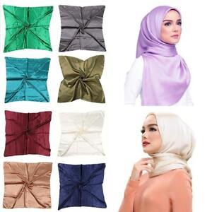 Solid-Color-Large-Satin-Silk-Muslim-Hijab-Head-Square-Scarf-Wrap-Scarves