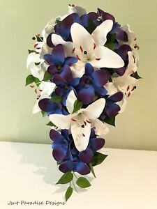 Blue Orchid And White Lily Bouquet
