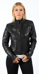Mujer-Negro-Plisado-100-Napa-brando-Chaqueta-biker