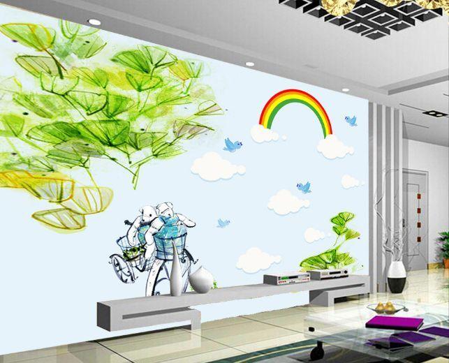3D Rainbow Leaves Plain Paper Wall Print Decal Wall Wall Murals AJ WALLPAPER GB