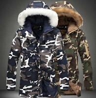 Winter Mens Thicken Camo Jacket Coat Fur Hooded Cotton Padded Warm Outwear Parka