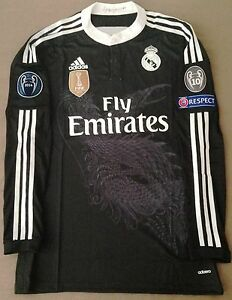 hot sale online f2384 b5d04 Details about Real Madrid 14/15 adizero Ronaldo black third dragon jersey  shirt Bale Ramos LS