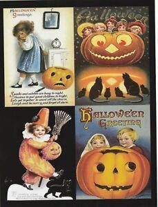 Postcard-Halloween-034-4-Mini-Pics-Small-Pumpkin-amp-Friends-034-One-Postcard-V-30