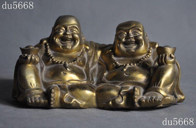 Chinese Copper Wealth YuanBao Happy Laugh Maitreya Buddha Dragon Phoenix Statue
