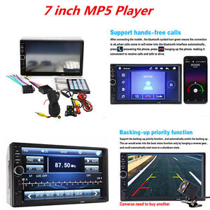 Car-2-DIN-7-034-HD-Touch-Screen-Bluetooth-Stereo-Radio-MP5-Player-Rear-View-Camera