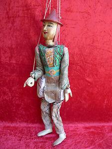Holzarbeiten Schöne,alte Holz-marionette__asien __geschnitzt Und Bemalt___74cm