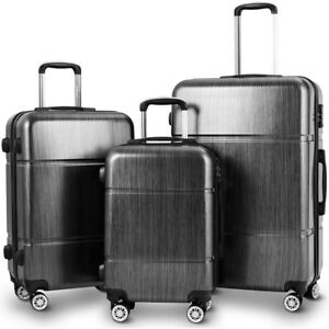 GLOBALWAY-3Pc-Luggage-Set-20-034-24-034-28-034-Trolley-Suitcase-ABS-PC-Spinner-w-TSA-Lock