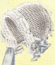 Vintage Antique Crochet PATTERN to make Filet Baby Hat Bonnet Clark/'s Rosy Posy