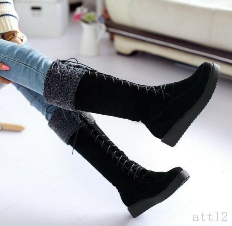 All US Sz US4-11 womens knee high boots Warm fur lace up Snow winter flats Shoes