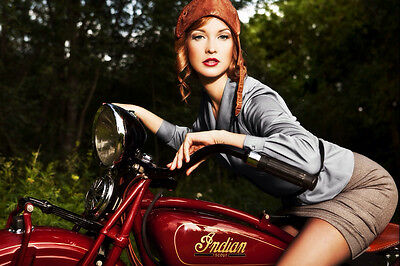 INDIAN SCOUT VINTAGE MOTORCYCLE PIN UP STYLE POSTER PRINT 36x54 BIG 9MIL PAPER