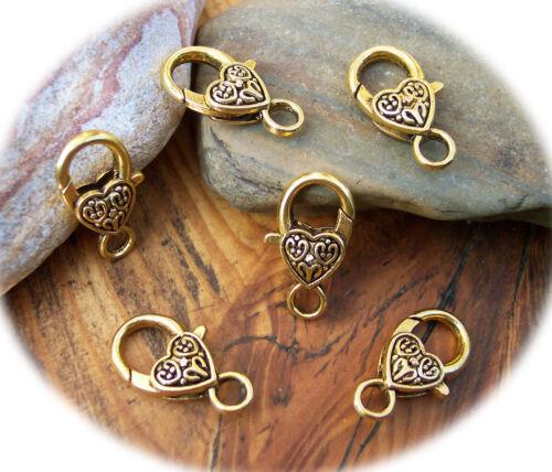 4 Grande Coeur Mousqueton gold 26 mm Chaînes Fermetures mousqueton pour bricolage