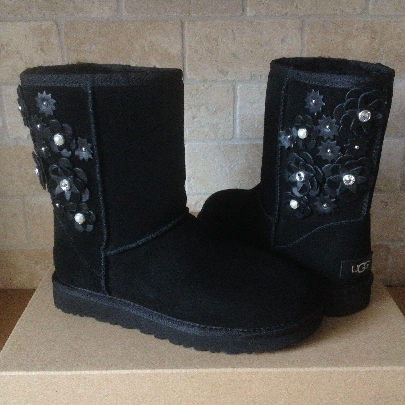 9f510d13ecb UGG Classic Short Petal Black Bling Suede Sheepskin BOOTS Size 6 US