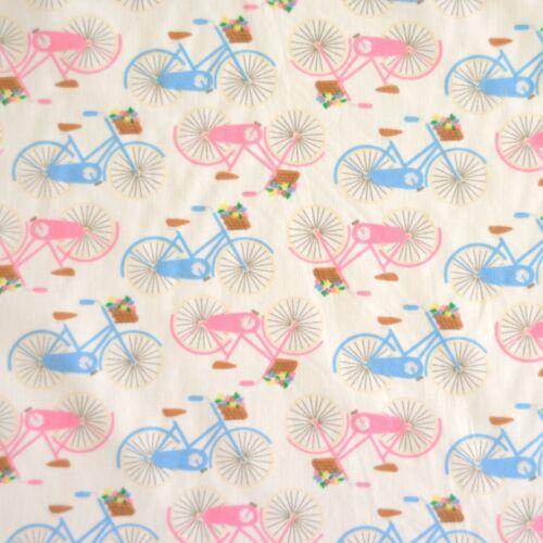 Blue Pink White Vintage Retro Cotton Poplin Dressmaking Bicycles Bike