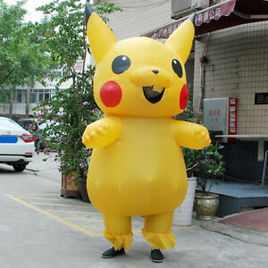 Hot Adult Large Mascot Pikachu Inflatable Costume Cosplay Halloween Funny Dress