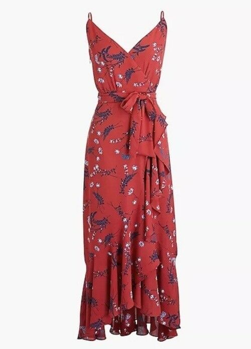 NWT J Crew Petite drapey ruffle faux-wrap dress Aztec floral print P0 0P J5856