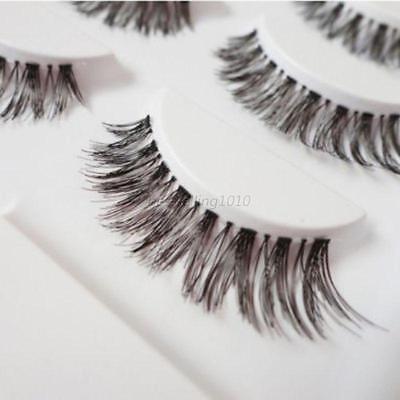 5 Pairs Natural Long Cross False Eyelashes Makeup Fake Thick Black Eye Lashes