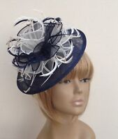 Bespoke Navy Blue/Cream Hat Fascinator Mother Of The Bride/Groom Weddings Races