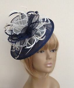 Image Is Loading Bespoke Navy Blue Cream Hat Fascinator Mother Of