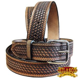 Leather-Gun-Holster-Belt-Handmade-Heavy-Duty-Western-Work-Mens-U-05DB