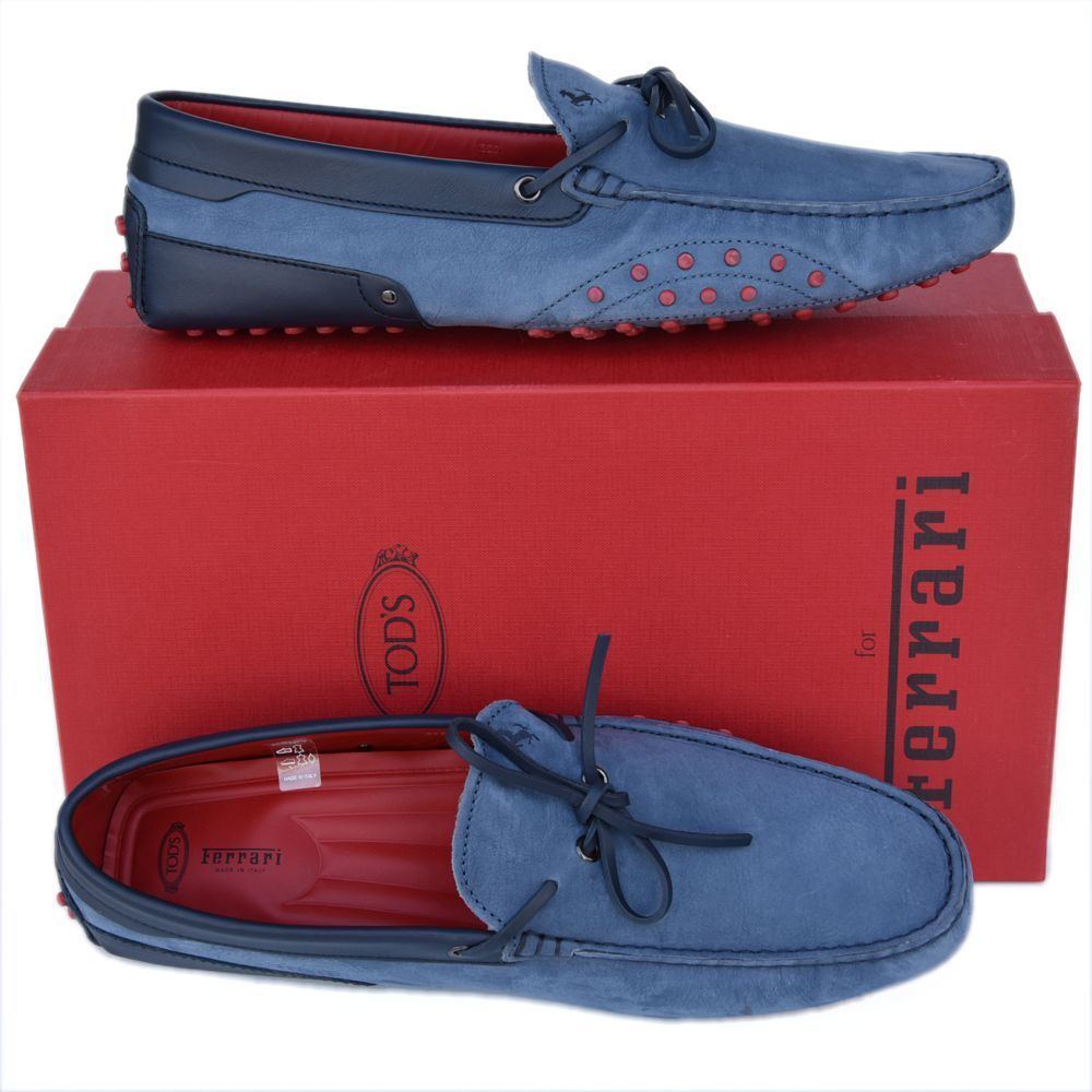 TOD'S Tods Ferrari New sz US 12 Designer Uomo Drivers Loafers Shoes blue