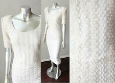 Sheath Pearl Beaded Embellished VTG 80s White Midi Mid Length Skirt Lace Dress M