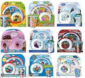 CHILDRENS-NOVELTY-CHARACTER-DINNER-SETS-3-PIECE-TUMBLER-SET-PLATE-BOWL-MUG