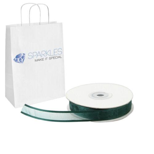 """Hunter Green Satin Edging Solid ru Organza Ribbon 5//8/"""" Wide 25 Yd Yard Roll"""