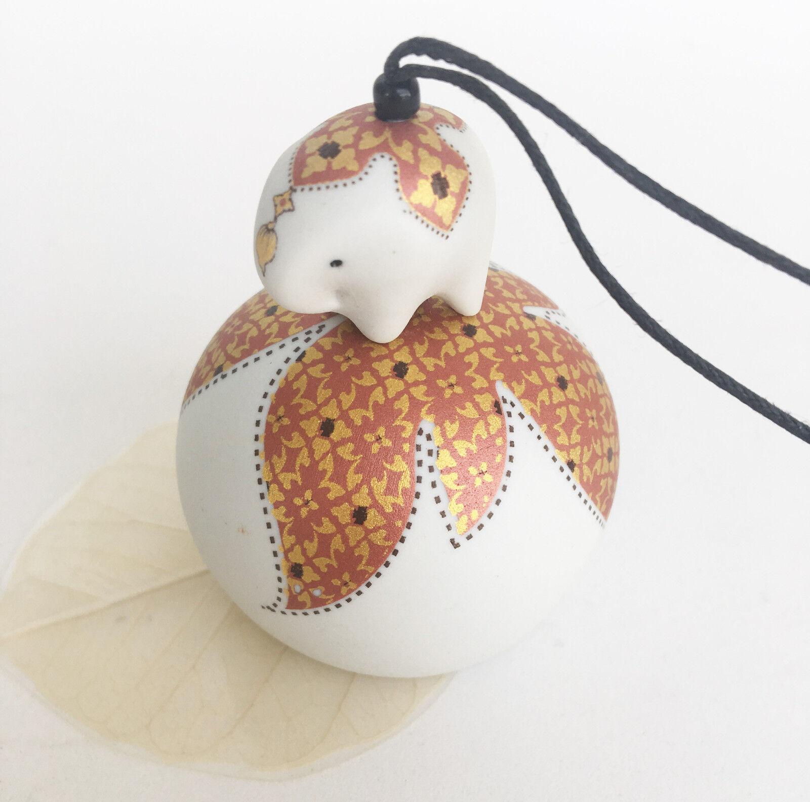Elephant Wind Chime Bell Ceramic Orange Thai Art Painted Home Gift Decoration