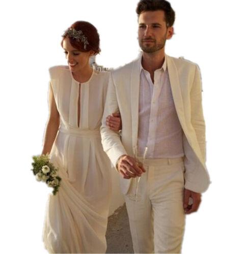 Jacket + Pant Groom Tuxedo Suit Men Beach Wedding Suit Champagne Color