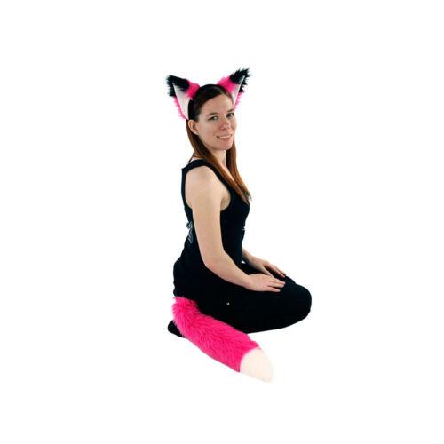 PAWSTAR Furry Fox Ears /& Tail Set Headband Costume Neon Hot Pink HP//WH 4007