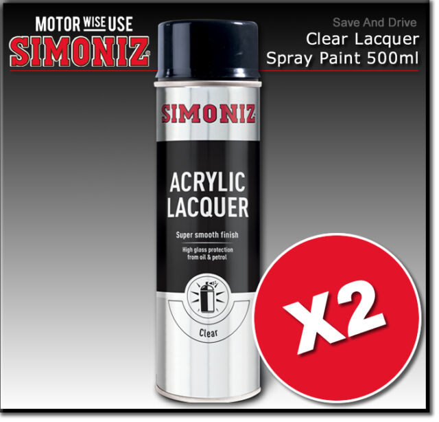 2 x Simoniz Large Clear Lacquer Acrylic Gloss Aerosol Spray Paint 500ml SIMP22D