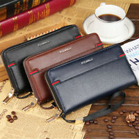 Men's Luxury Long Pu Leather Wallets Travel Commuting Senior Organizer Wallets