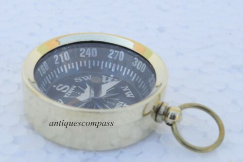 LOT OF 100 PCS NAUTICAL  VINTAGE MARITIME BRASS COMPASS KEY CHAIN KEY RING