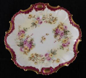 11-Antique-LS-amp-S-Limoges-Porcelain-Plates-France-Exquisite-Floral-Roses-Ornate