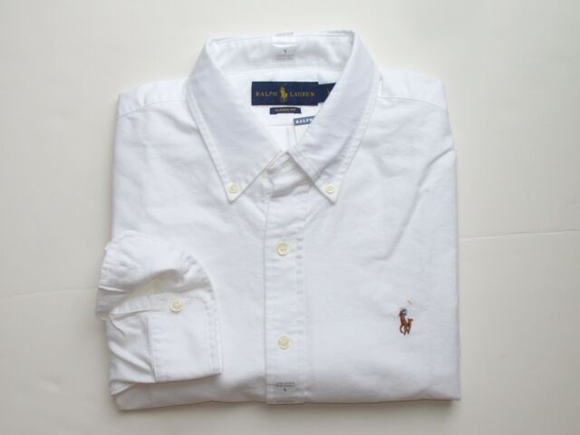 15f5e4c4890 Polo Ralph Lauren Mens Classic Fit Long Sleeve Oxford Button Down Shirt  White M