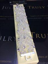 Luxurious Designer Silver Diamanté Chunky Beaded Bracelet - Gift Packaged