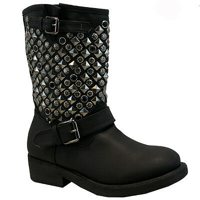 WOMENS LADIES MILITARY COMBAT ARMY LOW HEEL FLAT BUCKLE BIKER ANKLE BOOTS SIZE