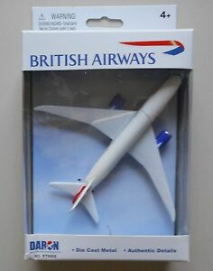 BRITISH-AIRWAYS-BOEING-787-MINIATURE-AIRPLANE-5-034-WINGSPAN-DARON-TOYS-DIECAST-NIB