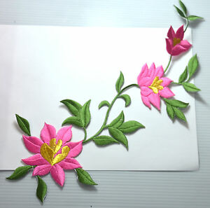 30cm-LARGE-PINK-ROSE-FLOWER-Embroidered-Sew-Iron-On-Cloth-Patch-Badge-APPLIQUE