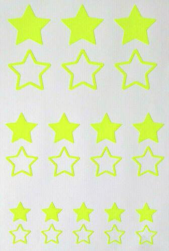 24 Sterne Aufkleber//Sticker Auto,Fahrrad,Motorrad,E-Bike,Helm Farbe Neon-Gelb
