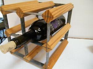 Urban Modern Wine Rack Holds 4 Bottle Urban Wood Metal Wine Holder Tabletop Ebay