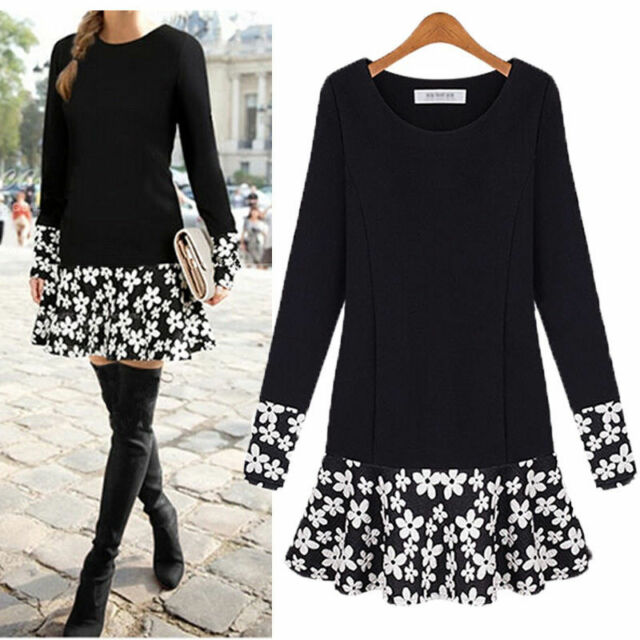 PLUS SIZE Women Long Sleeve Floral Blouse Bodycon Party Mini Dress Top Tunic