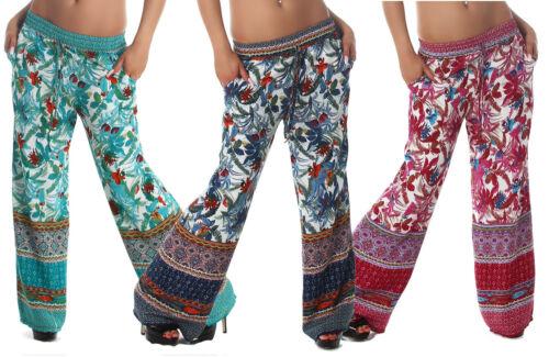 Pantaloni donna fiori harem elastico cavallo basso palazzo tasche nuovi