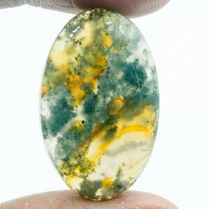 Cts-32-95-Natural-Designer-Oval-Cabochon-Moss-Agate-Loose-Gemstone-NMJEWELLS
