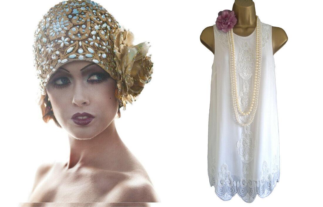 River Island Weiß Beaded Sleeveless Scallop Flapper Gatsby 1920s Dress Größe 6