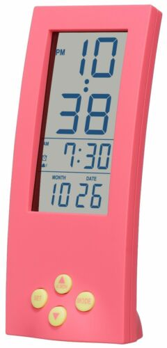 Battery Powered Vertical Alarm Clock Modern Bedroom 12-Hour Display