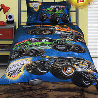Monster Jam Truck Mash Grave Digger Single Twin Bed Quilt