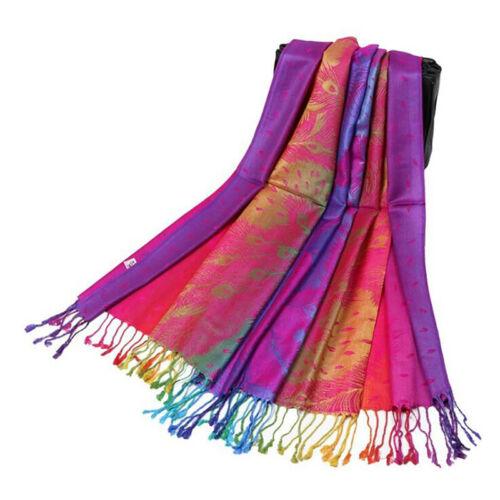 Women Fashion Peacock Feather Jacquard Cotton Scarf Tassel Warm Scarves Wrap Z